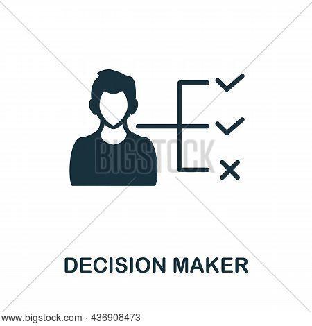 Decision Maker Icon. Monochrome Sign From Corporate Development Collection. Creative Decision Maker