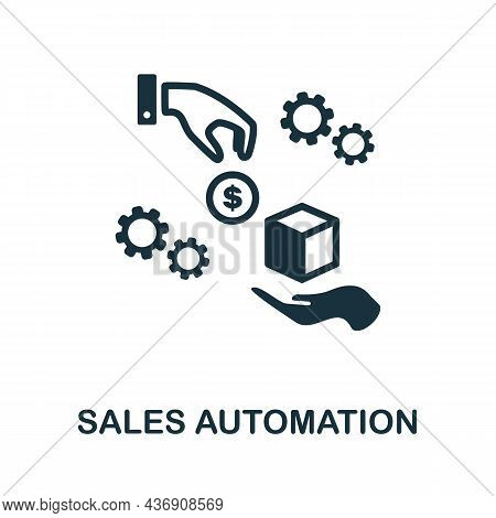Sales Automation Icon. Monochrome Sign From Corporate Development Collection. Creative Sales Automat