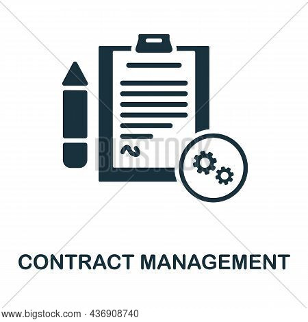 Contract Management Icon. Monochrome Sign From Customer Relationship Collection. Creative Contract M