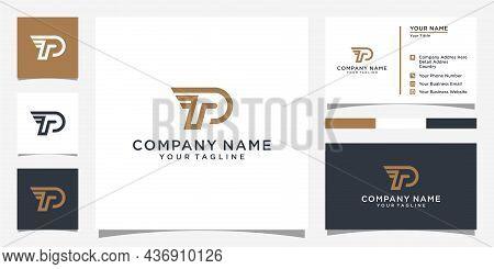Letter P Fast Logo Design Concept. Letter P Technology Vector Logo Design With Business Card Design.