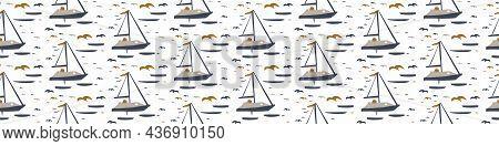 Masculine Drawn Boat Doodle Motif Seamless Pattern. Classic Retro Modern Shape For Digital Scrapbook