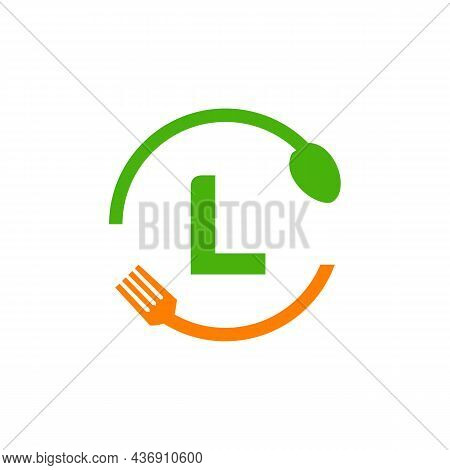 Restaurant Logo Design On Letter L With Spoon And Fork Concept Template. Kitchen Tools, Food Icon. C