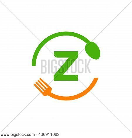 Restaurant Logo Design On Letter Z With Spoon And Fork Concept Template. Kitchen Tools, Food Icon. C