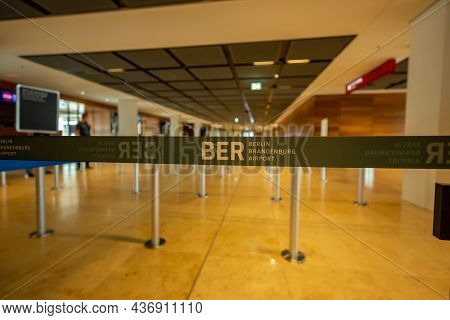 Berlin/germany- August 25, 2021: Ber Berlin Brandenburg Barrier Bound On Airport In Schoenefeld, Ber
