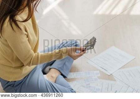 Financial Owe Asian Woman, Female Sitting On Floor Home, Stressed And Confused By Calculate Expense