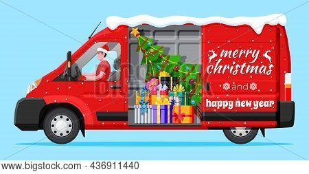 Christmas Delivery Van Isolated. Gift Box And Tree Inside. Delivery Man In Santa Claus Hat. Happy Ne
