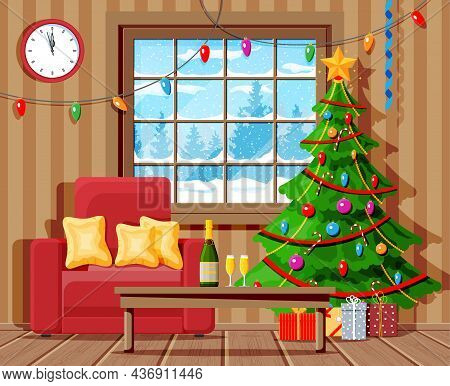 Cozy Interior Of Living Room With Window, Armchair, Table, Christmas Tree. Happy New Year Decoration