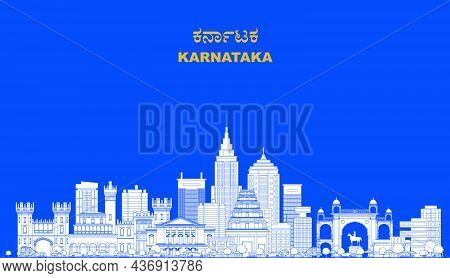 Sketch Of Karnataka's Famous Building Outline And Silhouette Editable Illustration