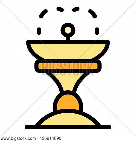 Architecture Drink Fountain Icon. Outline Architecture Drink Fountain Vector Icon Color Flat Isolate