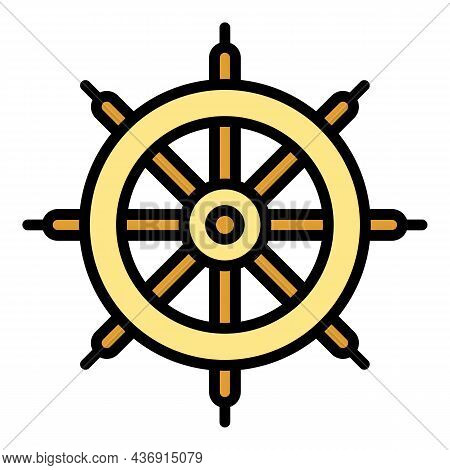 Rural Water Mill Icon. Outline Rural Water Mill Vector Icon Color Flat Isolated
