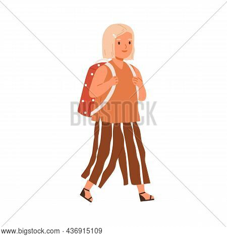 Kid Going To School. Elementary Student Child Walking With Bag. Happy Girl, First-grader Pupil With