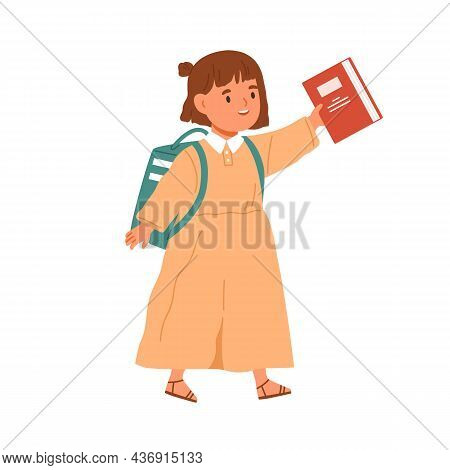 Girl Going To School With Schoolbag And Book In Hand. Elementary Student, Little Kid Walking With Ba