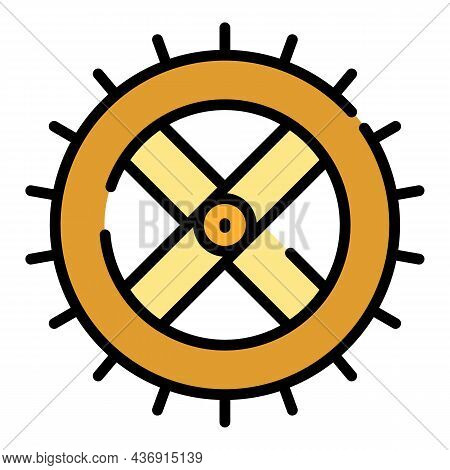Watermill Wheel Icon. Outline Watermill Wheel Vector Icon Color Flat Isolated
