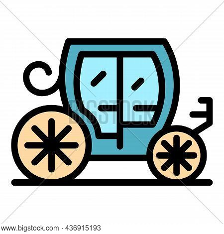 Royal Carriage Icon. Outline Royal Carriage Vector Icon Color Flat Isolated