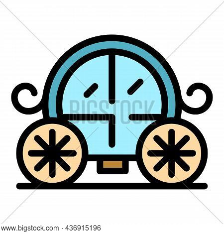Wedding Carriage Icon. Outline Wedding Carriage Vector Icon Color Flat Isolated