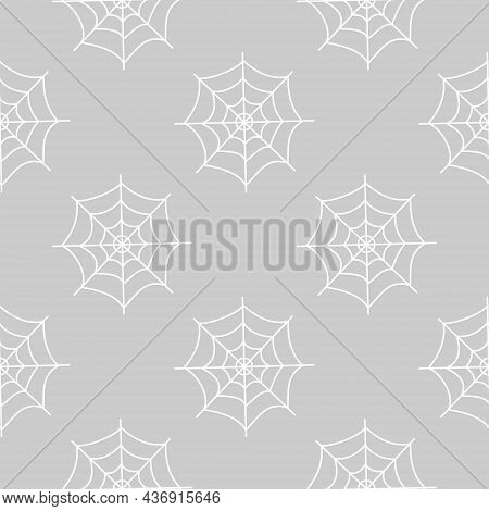 Halloween Seamless Pattern With White Cobwebs On Grey Background. Flat Vector Illustration. Use For