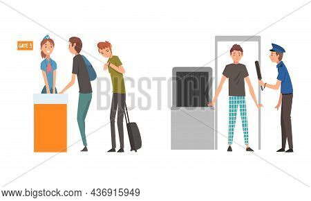 People Character At Airport Walking Through Metal Detector And Standing At Gate Vector Illustration