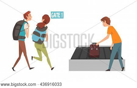 People Character At Airport Running Toward Gate And Taking Bag From Baggage Carousel Vector Illustra