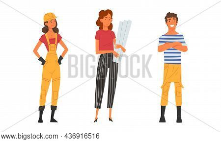 Young Male And Female Architect And Engineer Worker In Overall And Hard Hat Standing With Draft And