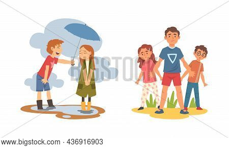 Little Courteous Boy Holding Umbrella Protecting Girl From Rain And Defending Weak Vector Set