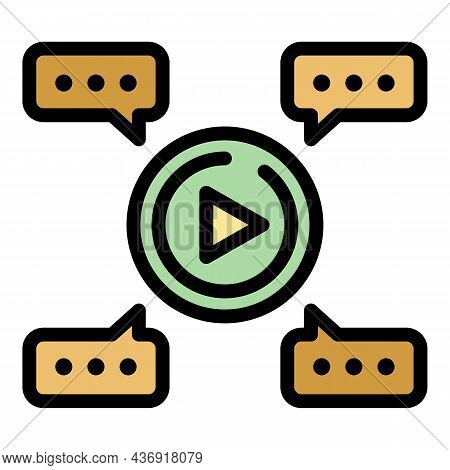 Video Chat Icon. Outline Video Chat Vector Icon Color Flat Isolated
