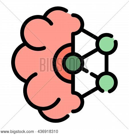 Ai Brain Icon. Outline Ai Brain Vector Icon Color Flat Isolated