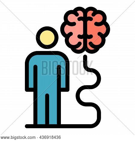 Man Ai Learning Icon. Outline Man Ai Learning Vector Icon Color Flat Isolated