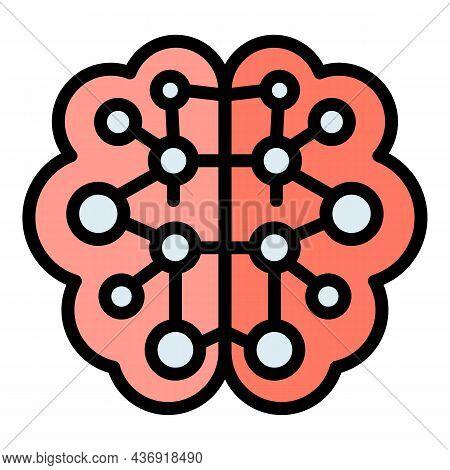 Future Ai Brain Icon. Outline Future Ai Brain Vector Icon Color Flat Isolated