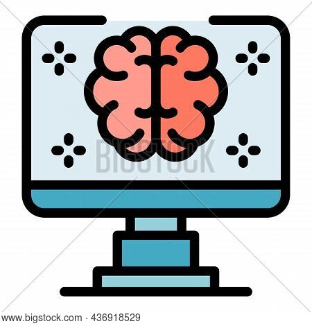 Computer Ai Brain Icon. Outline Computer Ai Brain Vector Icon Color Flat Isolated