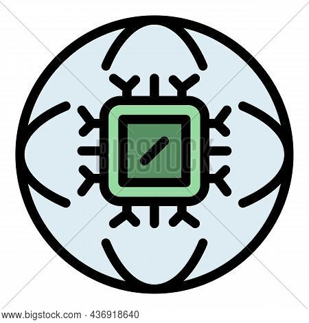 Ai Global Processor Icon. Outline Ai Global Processor Vector Icon Color Flat Isolated