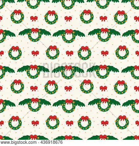 Christmas Pattern. Background With A Christmas Wreath, Christmas Tree Branches And A Red Bow In A Ci