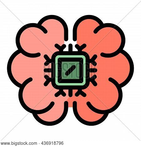 System Ai Brain Icon. Outline System Ai Brain Vector Icon Color Flat Isolated