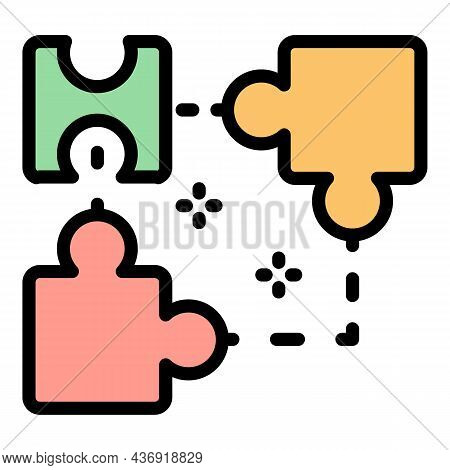 Ai Smart Puzzle Icon. Outline Ai Smart Puzzle Vector Icon Color Flat Isolated