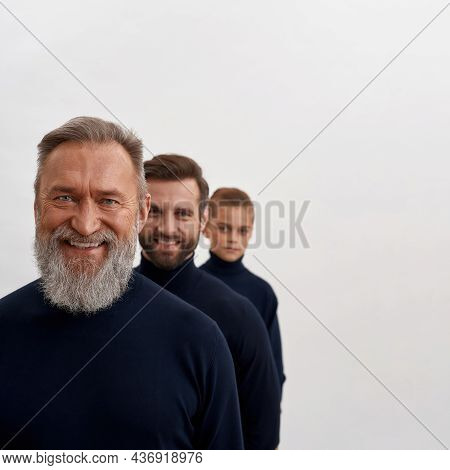 Crop Narrow Shot Image Portrait Of Smiling Three Family Generation Of Men In Row Isolated On White S
