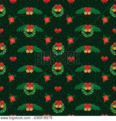 Background With Christmas Symbols Is A Christmas Wreath. Holiday Decorations In The Doodle Circle. B