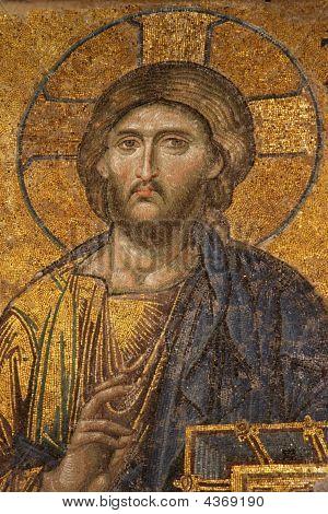Mosaic Of Jesus Christ At Hagia Sofia