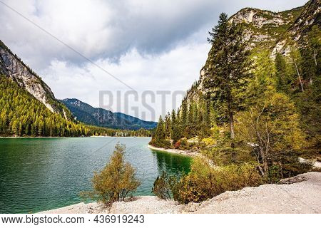 South Tyrol, Dolomites. The most beautiful mountain lake in Northern Italy is Lago di Braies. There is a walking path around the lake. Travel to Europe