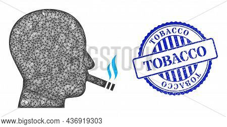 Vector Net Cigarette Smoker Carcass, And Tobacco Blue Rosette Textured Stamp. Crossed Carcass Net Il