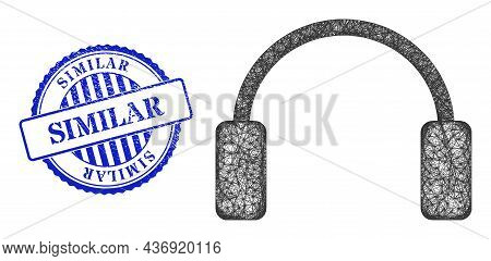 Vector Crossing Mesh Headphones Model, And Similar Blue Rosette Grunge Seal. Wire Carcass Network Im