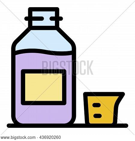 Dose Syrup Bottle Icon. Outline Dose Syrup Bottle Vector Icon Color Flat Isolated
