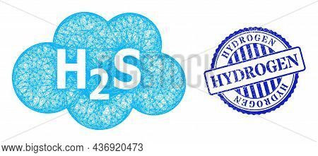 Vector Crossing Mesh Hydrogen Sulfide Cloud Carcass, And Hydrogen Blue Rosette Dirty Stamp Seal. Cro