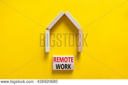 Remote Work Symbol. Concept Words 'remote Work' On Wooden Blocks Near Miniature Wooden House. Beauti