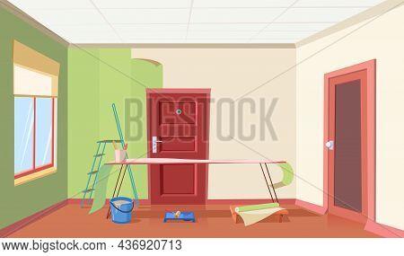 Hallway In House. Wallpaper Works. Renovation Of Room In Residential Building. Wallpapering. Door An