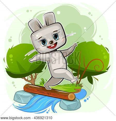 Cute Cartoon Hare By The River. Postcard For Children. Dexterous Scout. Funny Animal Overcomes An Ob