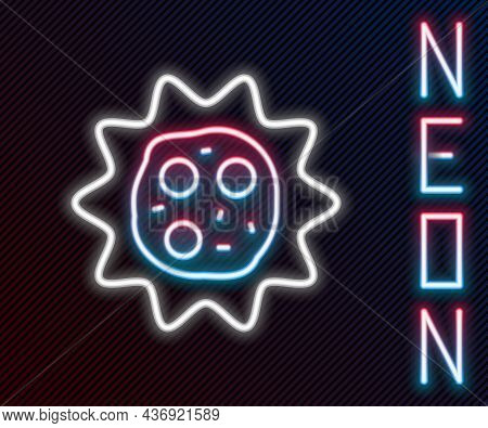 Glowing Neon Line Virus Icon Isolated On Black Background. Corona Virus 2019-ncov. Bacteria And Germ