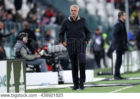 Torino, Italy. 17 October 2021. Jose Mourinho, Head Coach  Of As Roma  During The Serie A Match Betw