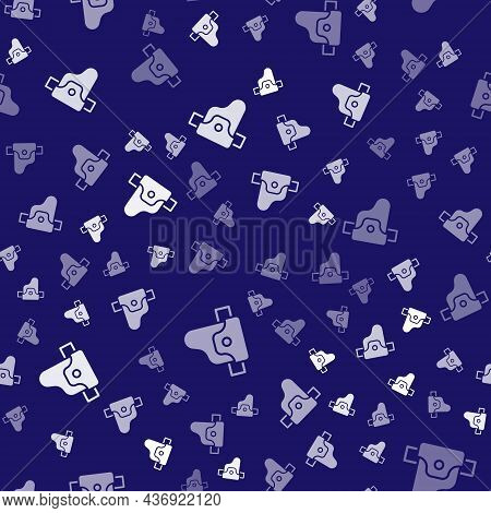 White Gun In Holster, Firearms Icon Isolated Seamless Pattern On Blue Background. Vector