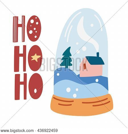 Christmas Glass Ball. Cozy Winter Landscape With A House Inside. Happy New Year Or Christmas Card. P