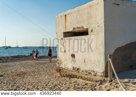 Es Trenc, Spain; October 11 2021: Old Bunker Of The Spanish Civil War On The Beach Of Es Trenc, Next
