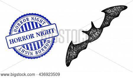 Vector Net Flying Bat Model, And Horror Night Blue Rosette Scratched Stamp Seal. Crossed Frame Net I